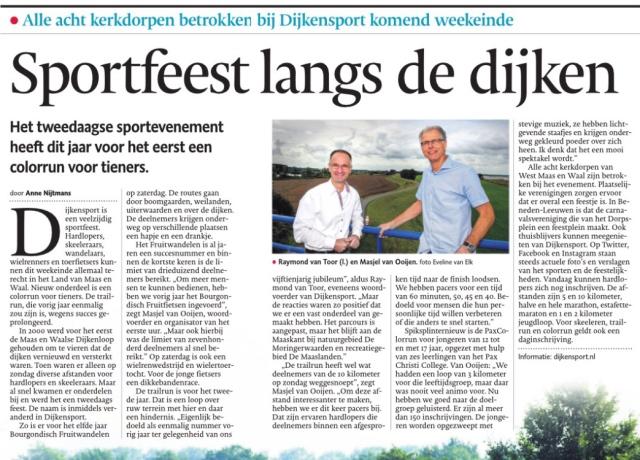 Stichting Maalse en Waalse DijkenLoop - DijkenSport 2015 interview Gelderlander Raymond van Toor