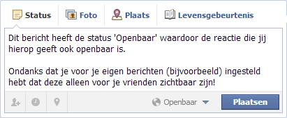 Zichtbaarheid Facebook bericht dat openbaar is