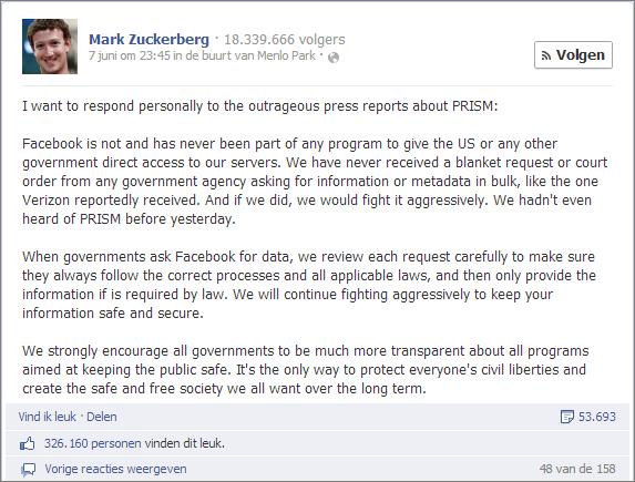 Reactie Mark Zuckerberg op Prism