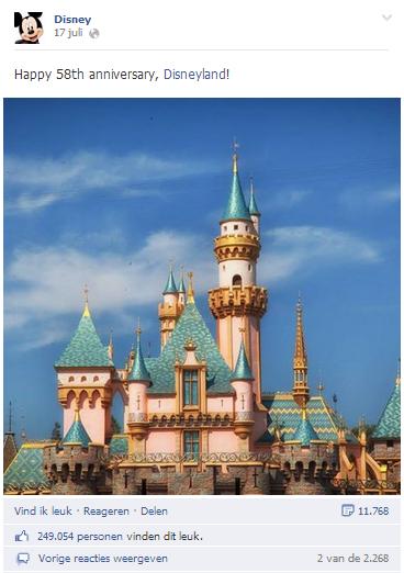 Facebook Pagina Disney - voorbeeld interactie op post