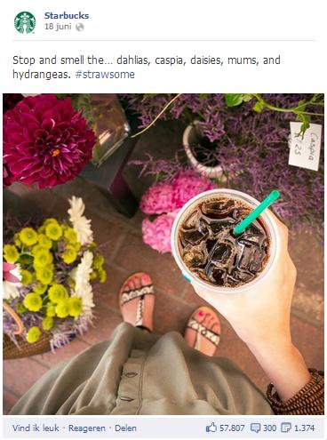 Facebook Pagina Starbucks - voorbeeld gebruik hastag in post