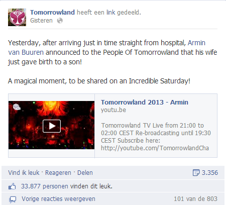 Tomorrowland - Armin van Buuren opnieuw vader
