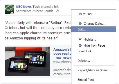 Facebook Bericht achteraf Wijzigen (Editen)