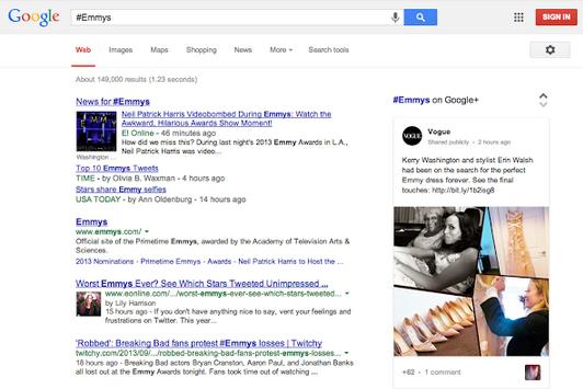 Weergave hashtags in Google zoekresultaat
