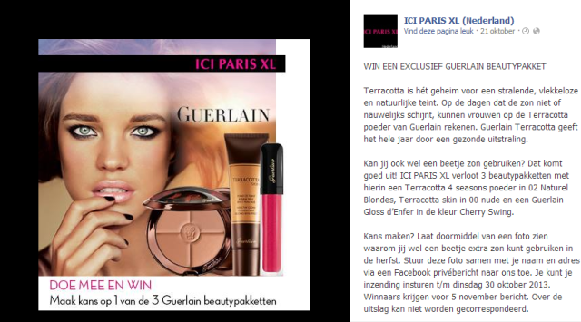 ICI PARIS XL Facebook actie
