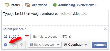 Facebook bericht plannen II