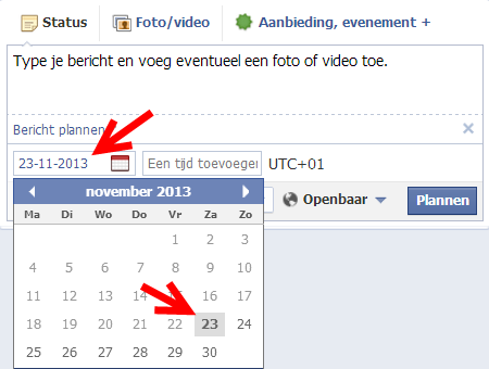 Facebook bericht plannen III