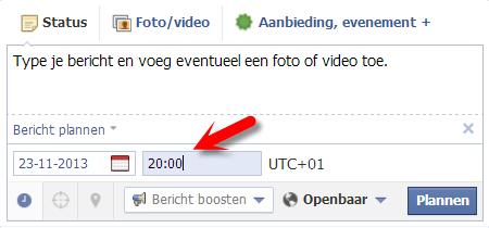 Facebook bericht plannen IV