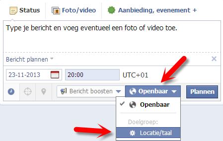 Facebook bericht plannen V