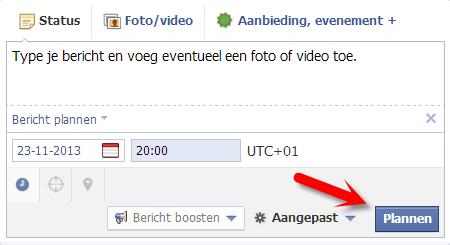 Facebook bericht plannen VII