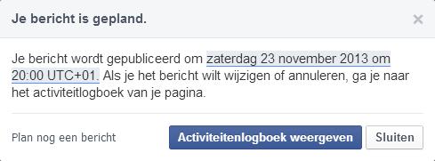 Facebook bericht plannen VIII