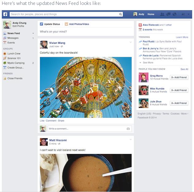 Nieuwe layout Facebook Nieuwsfeed 2014