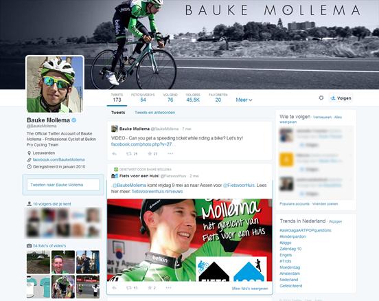 Nieuwe layout Twitter profiel Bauke Mollema