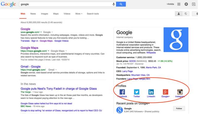 Google Search toont social media profielen