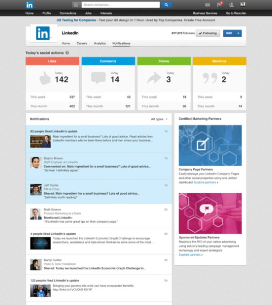 LinkedIn Pagina Notificaties