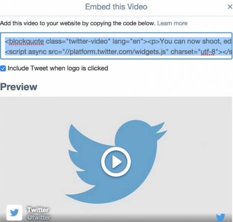 Embed Twitter video