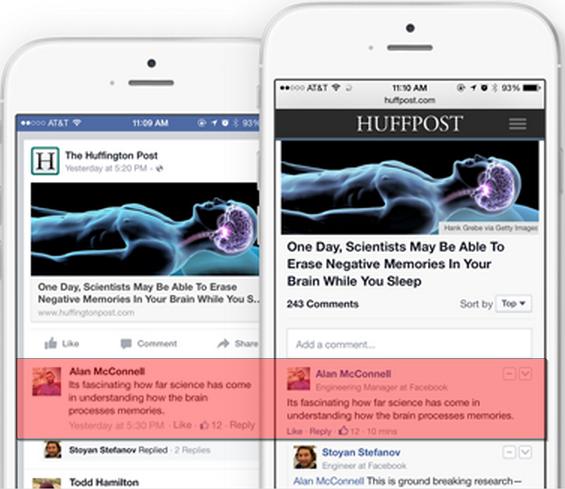 Facebook synchronisatie reacties