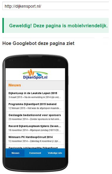 Google Webmaster mobielvriendelijke website