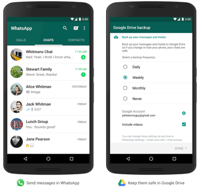 Whatsapp Backup via Google Drive