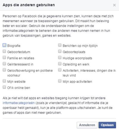 Facebook apps die anderen gebruiken